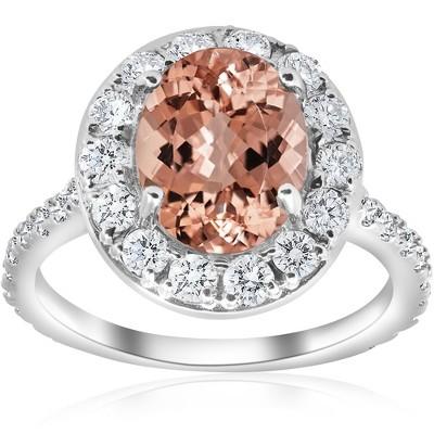 Pompeii3 3 ct Oval Halo Morganite Diamond Vintage Engagement Ring 14k White Gold