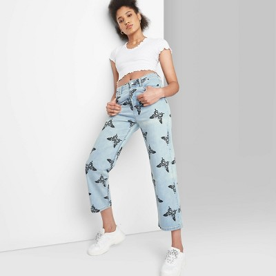 Women's Super-High Rise Butterfly Print Straight Jeans - Wild Fable™ Medium Blue