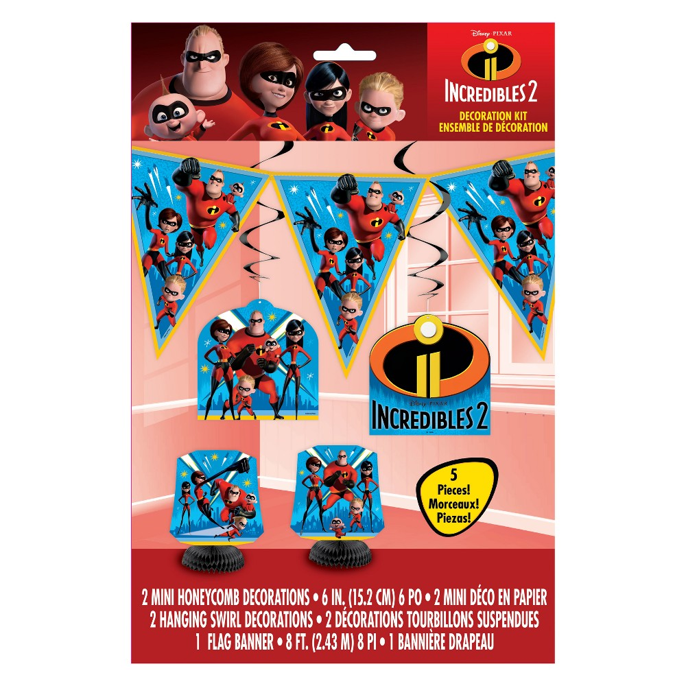 The Incredibles 5ct Party Decoration Kit - Unique Industries, Multi-Colored