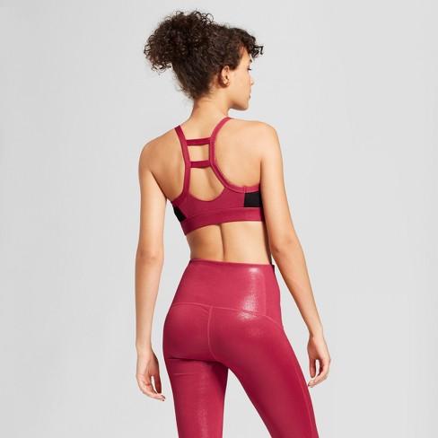 a7099f104c260 Women s High Neck Shine Sports Bra - JoyLab™ Sangria Red XS