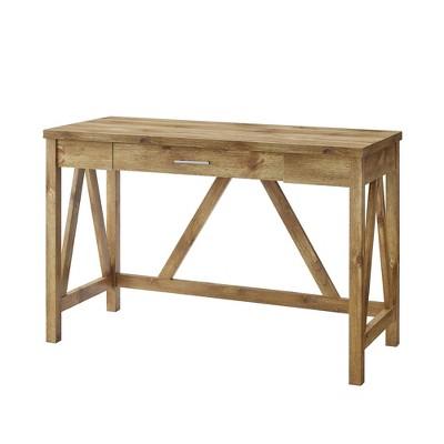 "46"" Rustic Farmhouse Single Drawer A Frame Desk Barnwood - Saracina Home"