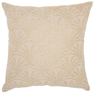 Life Styles Metallic Embroidered Swirls Square Throw Pillow Ivory/Gold - Mina Victory