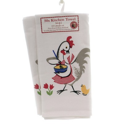 """Tabletop 24.0"""" Chicken Flour Sack Towel 50'S Kitchen 100% Cotton Red And White Kitchen Company  -  Kitchen Towel"""