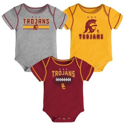NCAA USC Trojans Baby Boys' 3pk Bodysuit Set - 6-9M