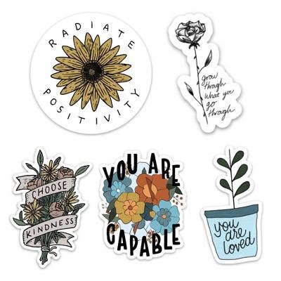 Big Moods Positivity Floral Sticker Pack 5pc