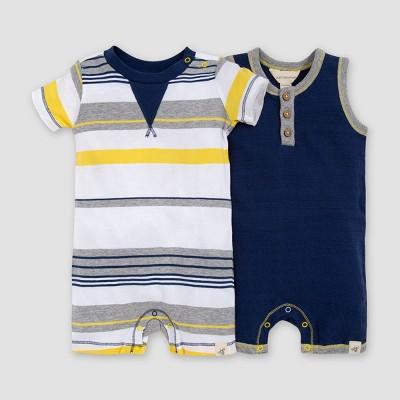 Burt's Bees Baby® Baby Boys' 2pk Striped Romper Set - White/Dark Blue 3-6M