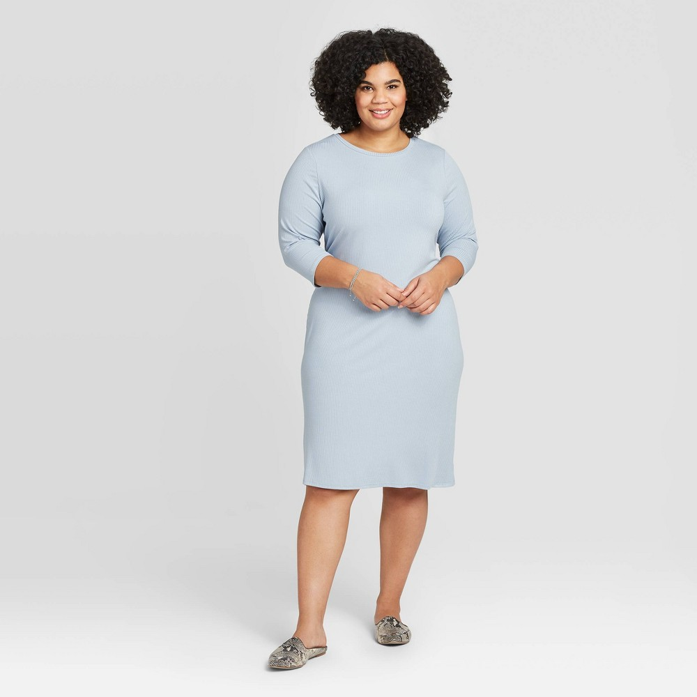 Women's Plus Size 3/4 Sleeve Rib-Knit Dress - A New Day Blue 2X was $24.99 now $17.49 (30.0% off)