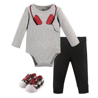 Little Treasure Baby Boy Cotton Bodysuit, Pant and Shoe 3pc Set, Red Headphones