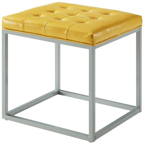 Nolan Yellow Cube Ottoman - PU Leather - Button Tufted - Metal Frame in Yellow - Posh Living - image 1 of 3