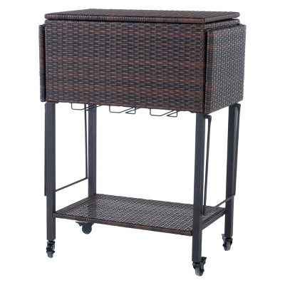 Buga Wicker Bar Cart - Multi-Brown - Christopher Knight Home