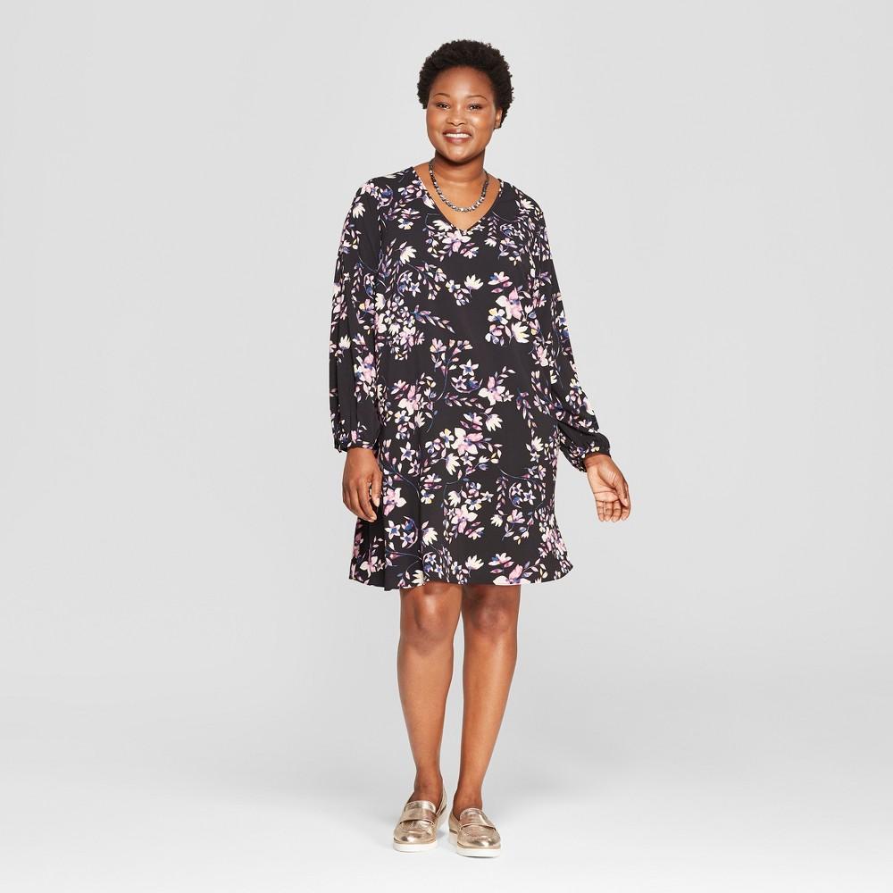Women's Plus Size Floral Print Shift Dress - Ava & Viv Black 3X