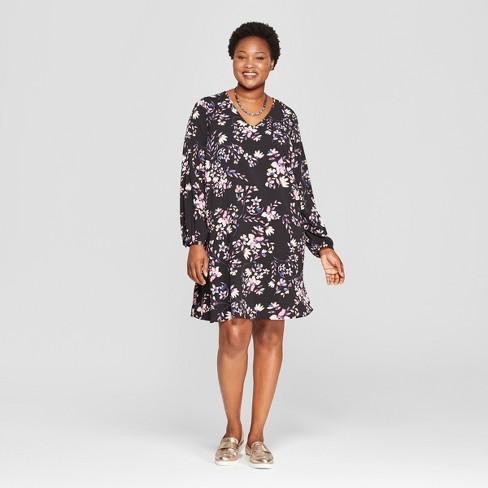 a72a648177d84 Women s Plus Size Floral Print Shift Dress - Ava   Viv™ Black   Target