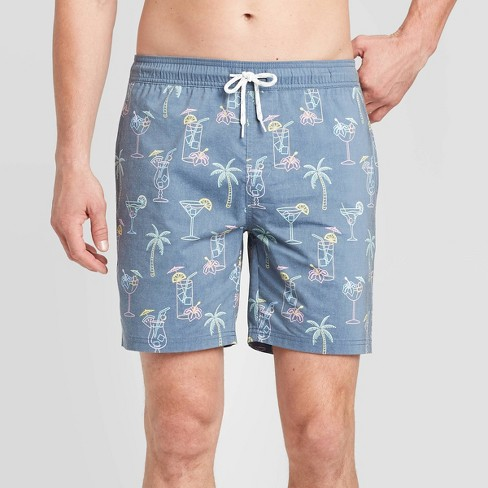 Blue Stripe RortyM Mens Beach Short Elastic Waist Quick Dry Swim Trunks Mesh Lining