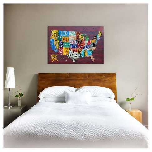 License Plate Map USA By David Bowman Canvas Print : Target