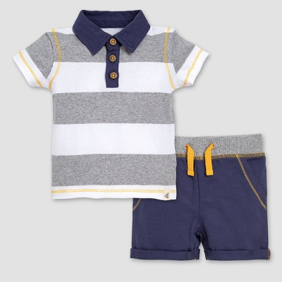 Burt's Bees Baby® Boys' Rugby Stripe Organic Cotton Polo & French Terry Shorts Set - Indigo 0-3M