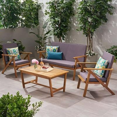 Panama 4pc Acacia Wood Patio Chair Set - Teak Finish - Christopher Knight Home