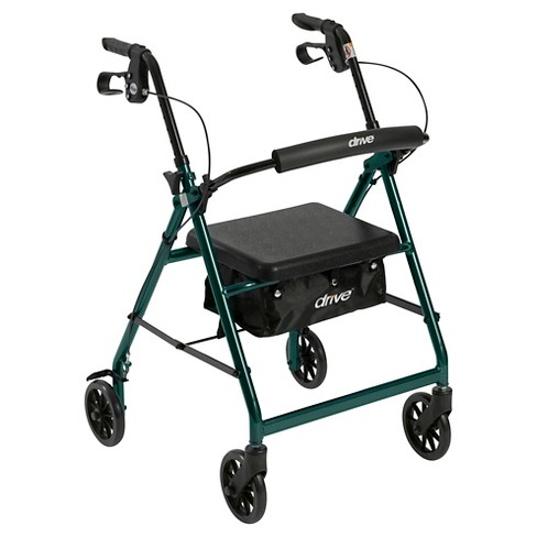 "Drive Medical Walker Rollator with 6"" Wheels, Fold Up Removable Back Support and Padded Seat, Green - image 1 of 4"