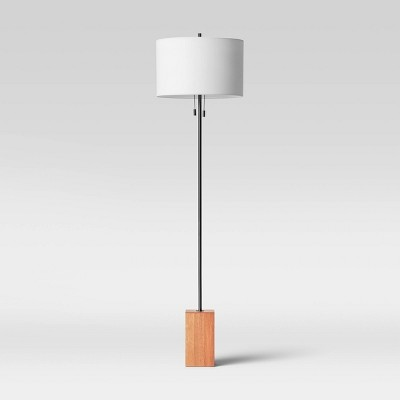 Floor Lamp with Wood Block Base (Includes LED Light Bulb) Brown - Project 62™