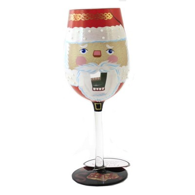 "Tabletop 9.0"" Nuts About Santa Lolita Wine Stemmed Glass Christmas Enesco  -  Drinkware"
