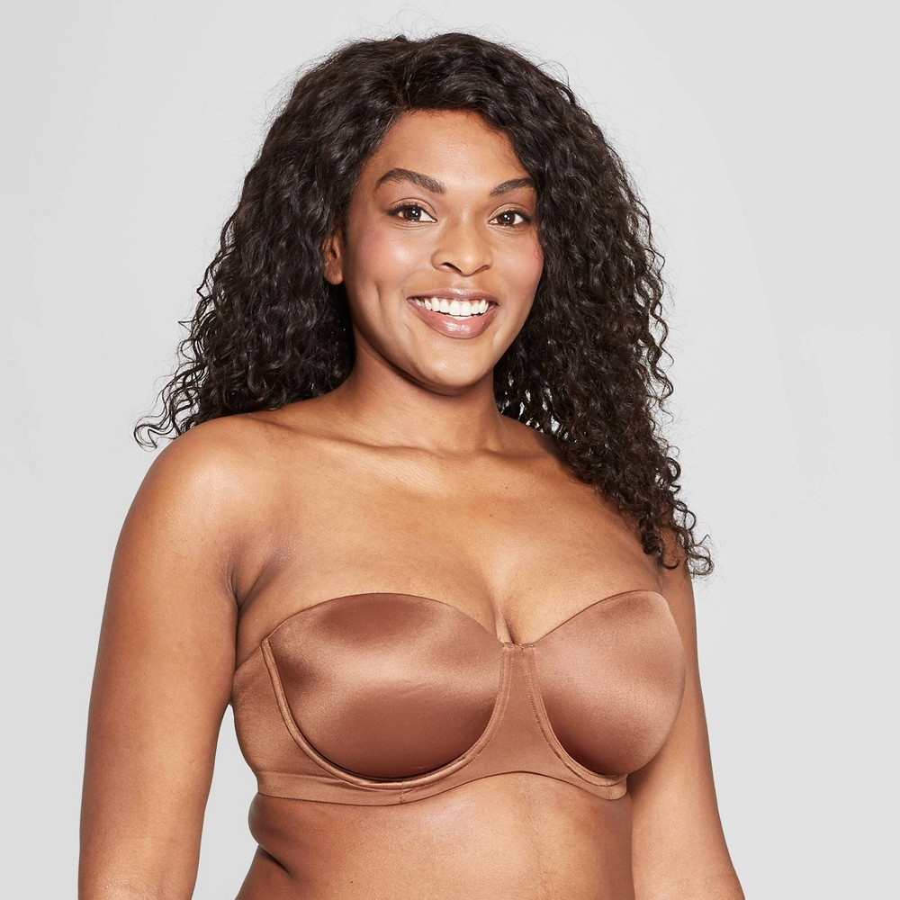 Women's Lightly Lined Strapless Bra - Auden Cocoa (Brown) 36D