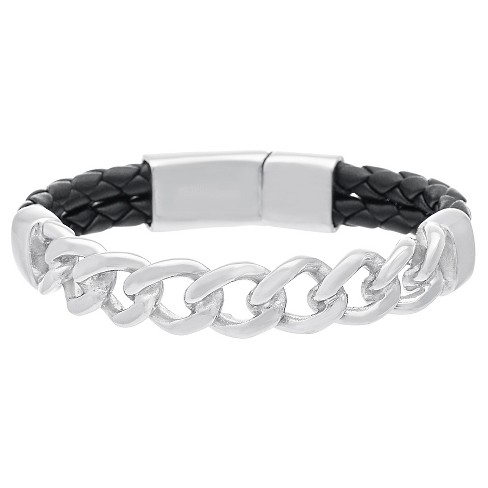"Silver-Tone Stainless Steel Men's Curb Chain Charm 7.5"" Black Double Strand Braided Leather Bracelet - image 1 of 1"