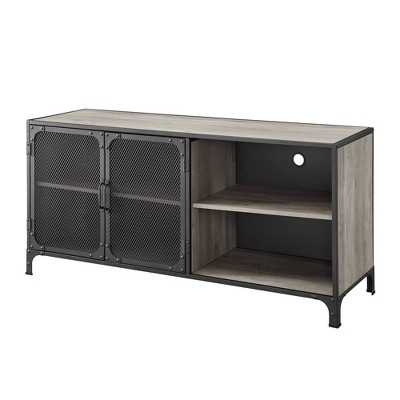 """Industrial Metal and Wood TV Stand for TVs up to 58"""" - Saracina Home"""