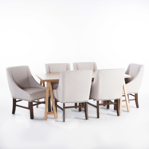Sabine 7-Piece Farmhouse Dining Set - Oak/Natural - Christopher Knight Home - image 1 of 4