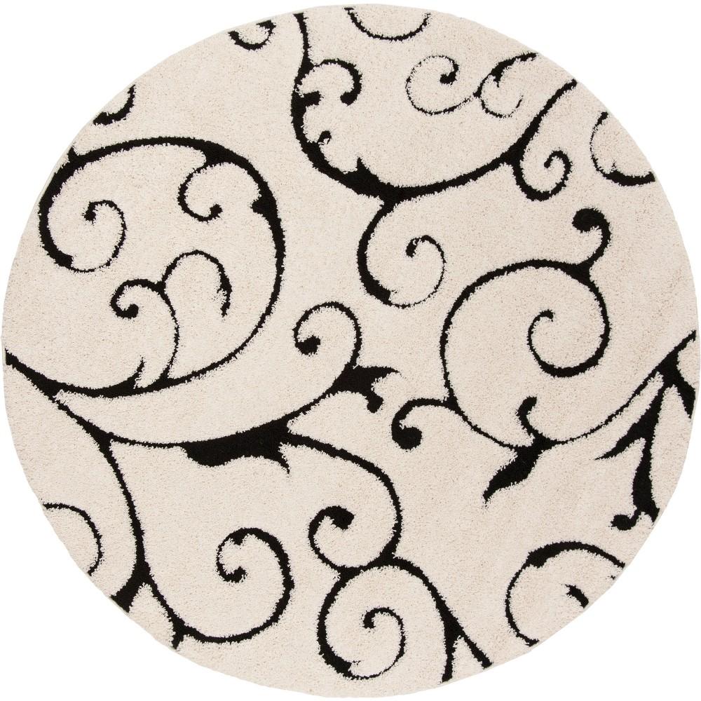 6 39 7 34 Round Swirl Loomed Area Rug Ivory Black Safavieh