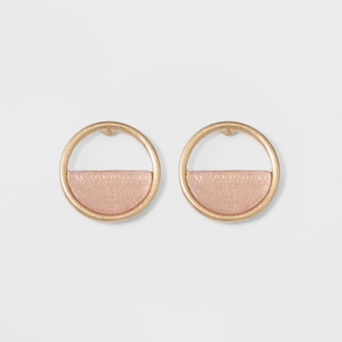 Open Button with Semi-Precious Stone Inlay Earrings - Universal Thread™ Light Pink - image 1 of 3