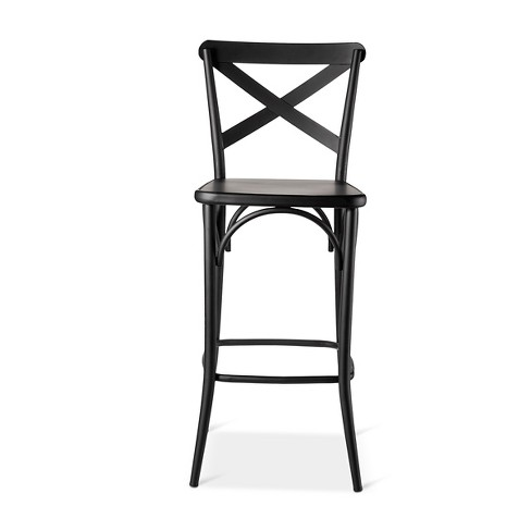29 French Bistro High Back Barstool Black