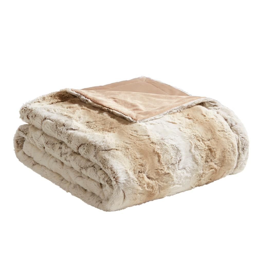 Sand (Brown) Marselle Faux Fur Throw Blanket 60