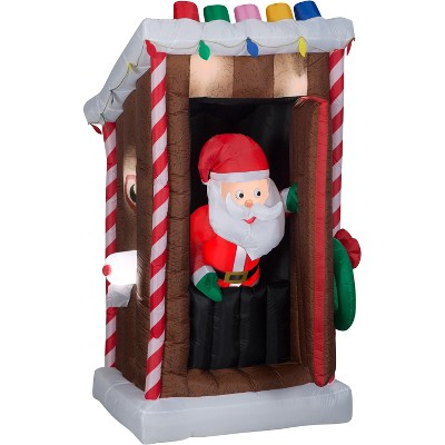Gemmy Animated Christmas Airblown Inflatable Santa's Outhouse, 6 ft Tall, brown