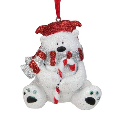 """Kurt S. Adler 3.5"""" Red and White Glitter Polar Bear with a Candy Cane Christmas Ornament"""