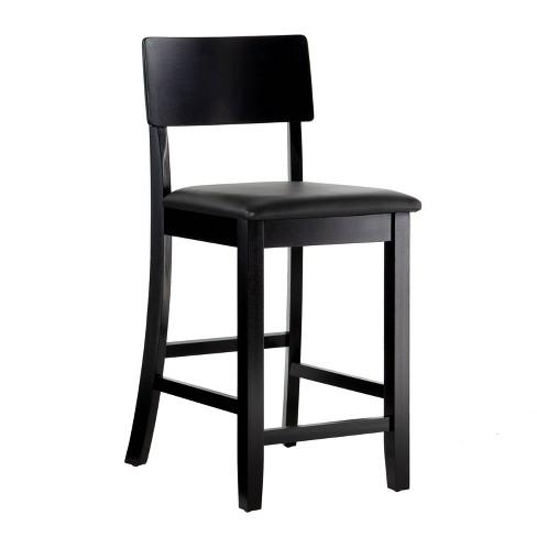 "Torino Contemporary 24"" Counter Height Barstool Hardwood/Black - Linon - image 1 of 4"