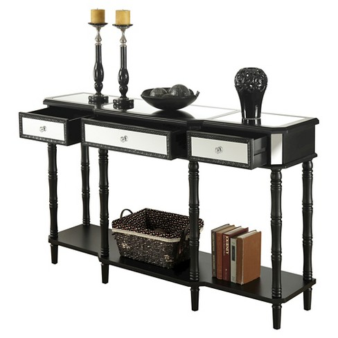 Milan Mirrored Console Table Black Mirror Convenience Concepts Target