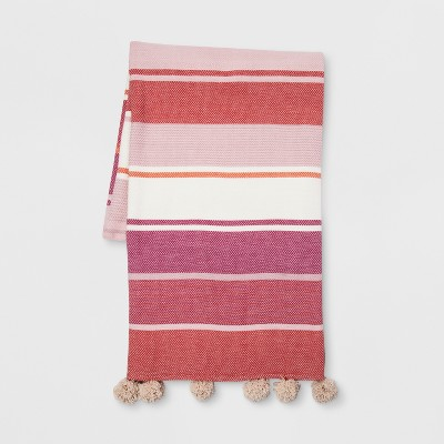 Pink and White Stripe Throw Blankets - Opalhouse™