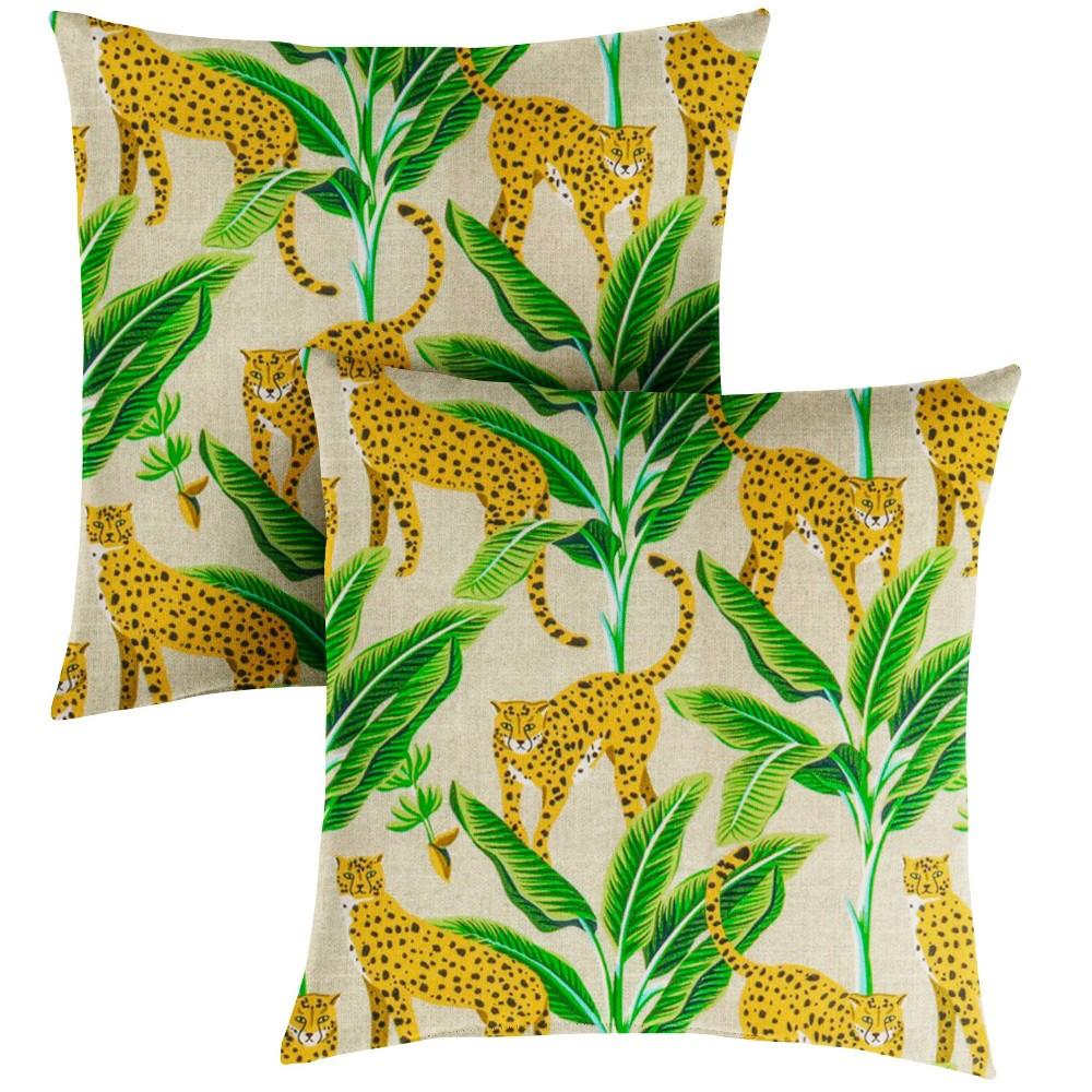 "Image of ""16"""" 2pk Outdoor Throw Pillows Yellow/Green"""