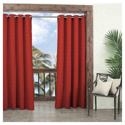 "108""x52"" Key Largo Solid Indoor/Outdoor Curtain Panel Red - Waverly Sun N Shade"