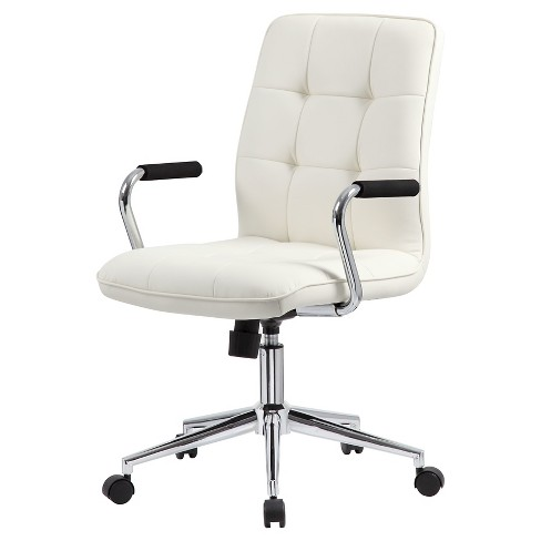 Modern Office Chair With Chrome Arms White Boss S