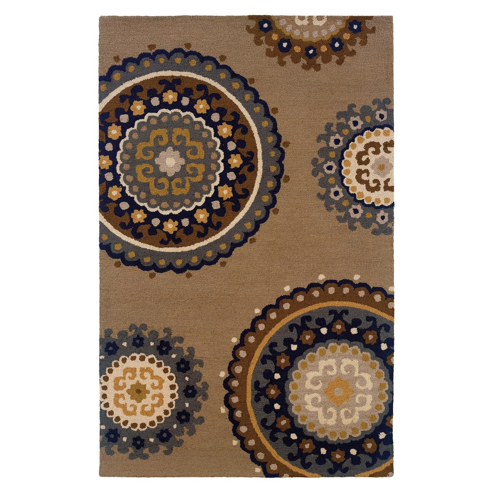 Medallion Accent Rug - Tan/Light Blue (3'6