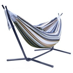 Sorbus Brazilian Double Hammock with Stand - Brown, Blue Stripes