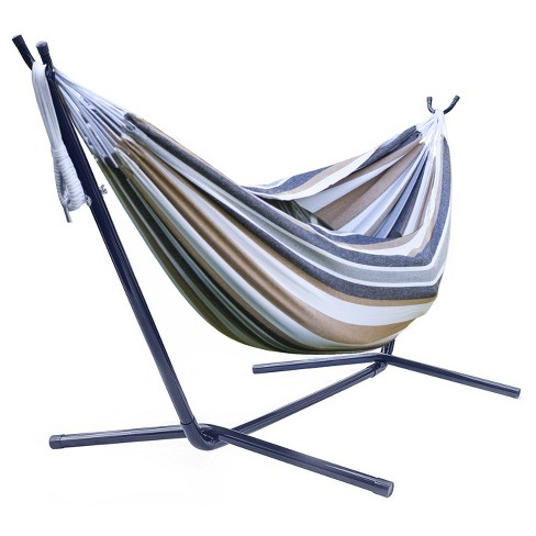 Sorbus Brazilian Double Hammock with Stand - Brown, Blue Stripes - image 1 of 2