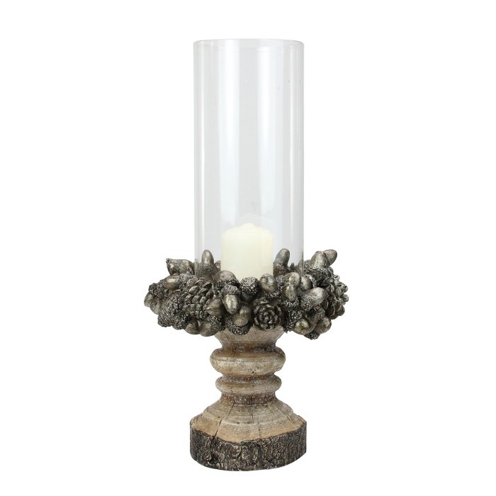 """Raz Imports 13"""" Rustic Acorn and Pinecone Tree Pillar Candle Holder with Glass Case - image 1 of 3"""