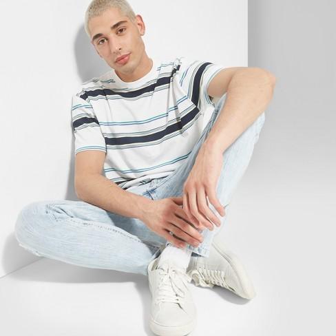 Men's Striped Regular Fit Short Sleeve Crew Neck Boxy T-Shirt - Original Use™ White - image 1 of 3
