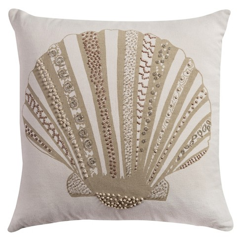 "Tan Shell Throw Pillow (18""x18"") - Rizzy Home - image 1 of 1"