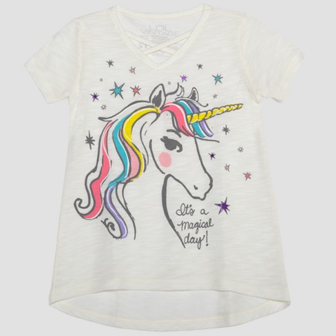 Toddler Girls' L.O.L. Vintage Unicorn Magic Short Sleeve T-Shirt - Frosted - image 1 of 2