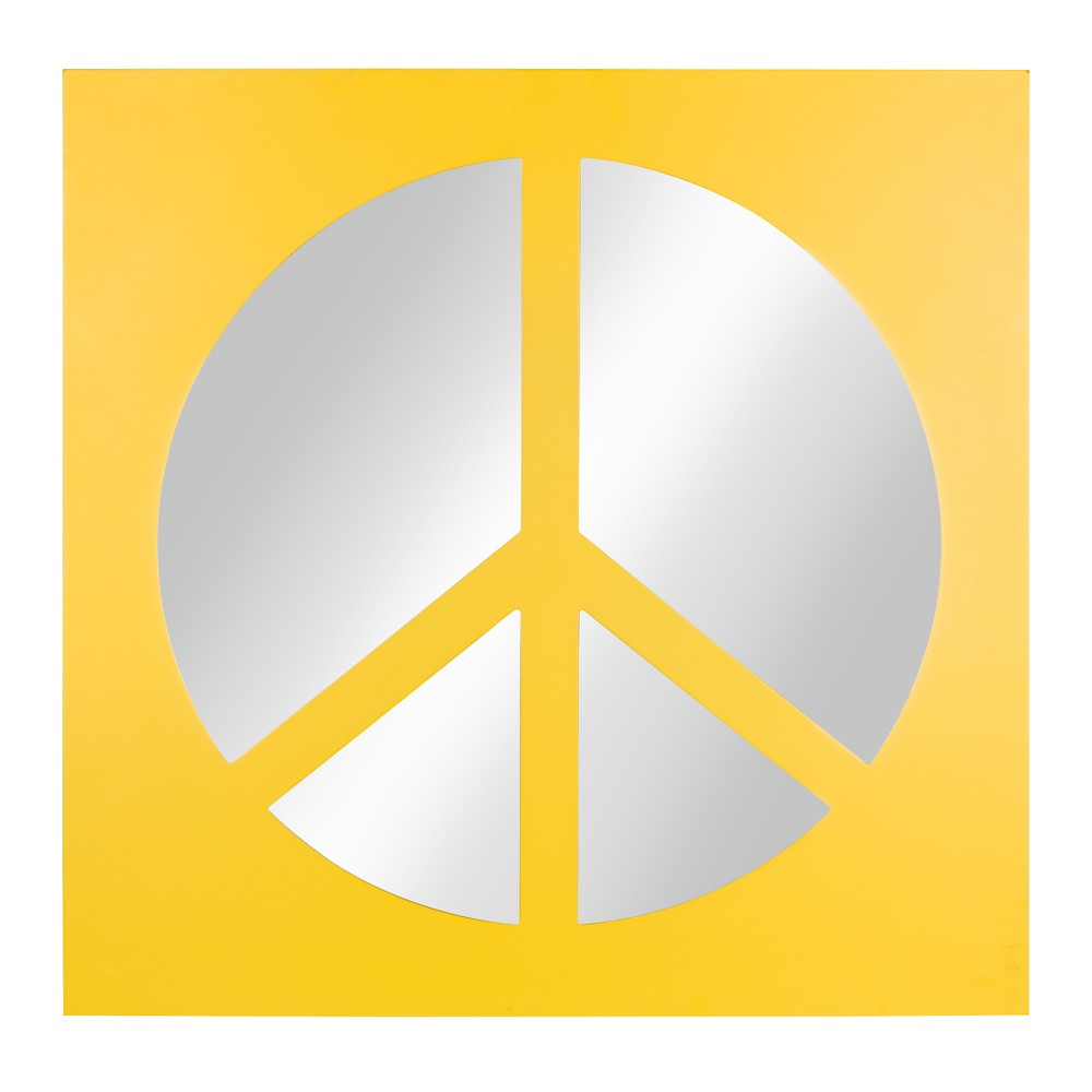 Peace Icon Mirror 22x22 - Kate & Laurel, Yellow
