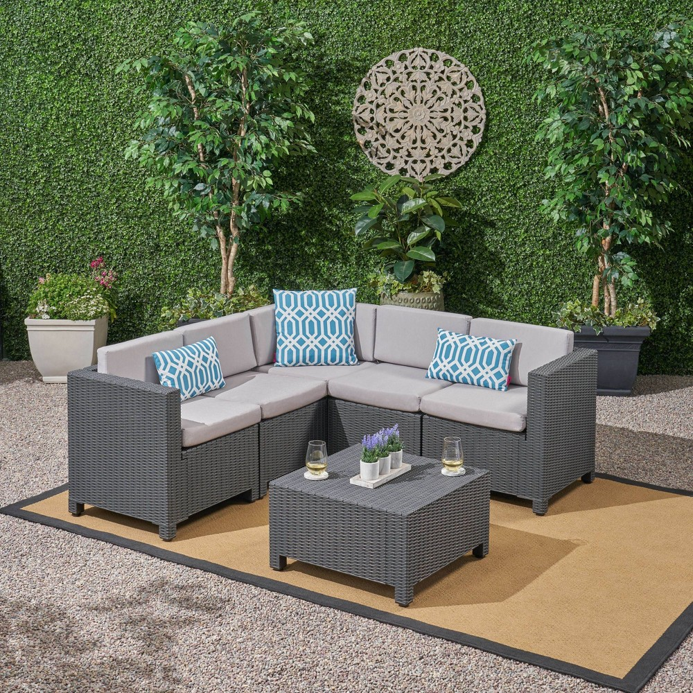 Waverly 6pc All Weather Faux Wicker Sectional Sofa Set - Dark Gray/Gray - Christopher Knight Home