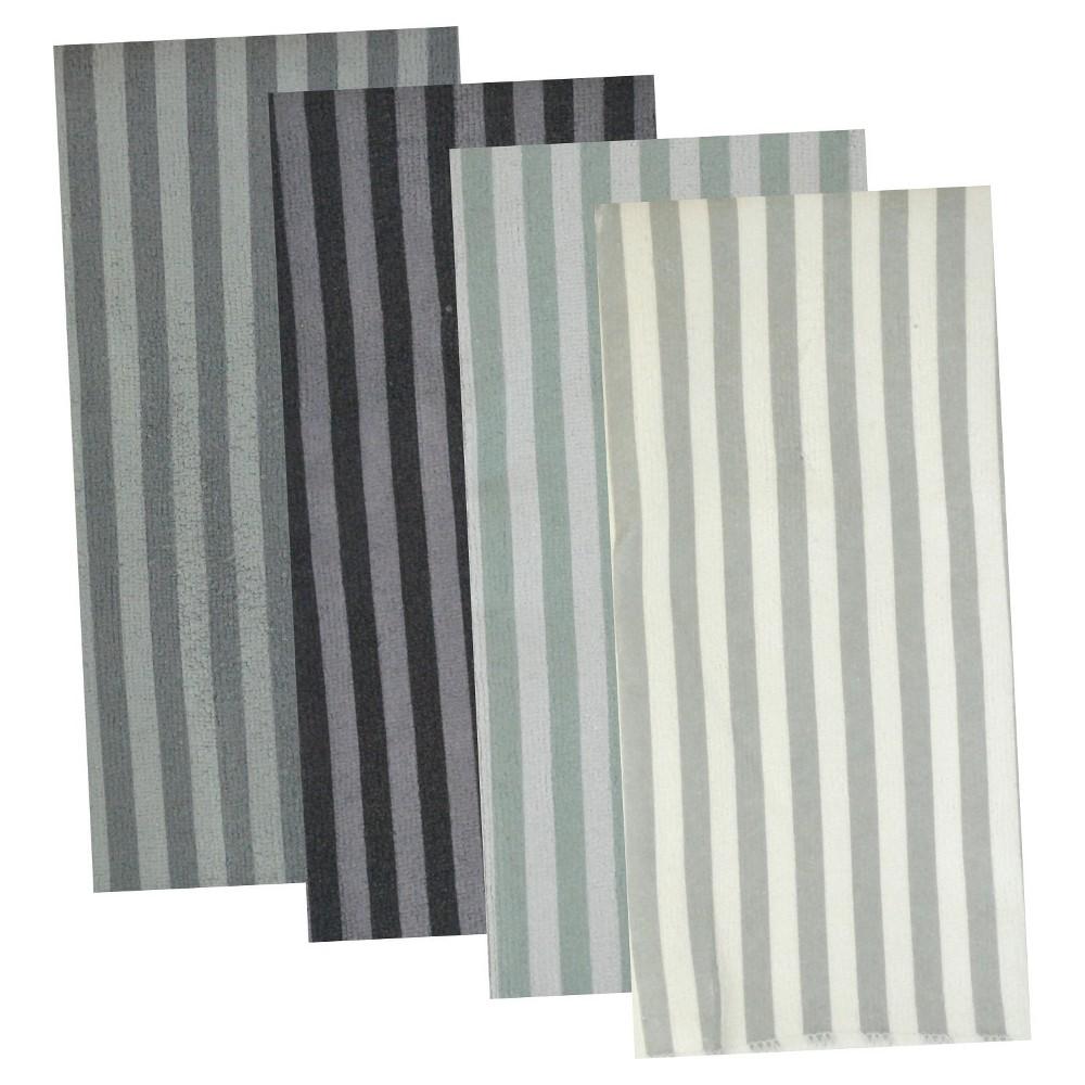Set of 8 Gray Stripe Dish Cloth - Design Imports, Light Gray Nep