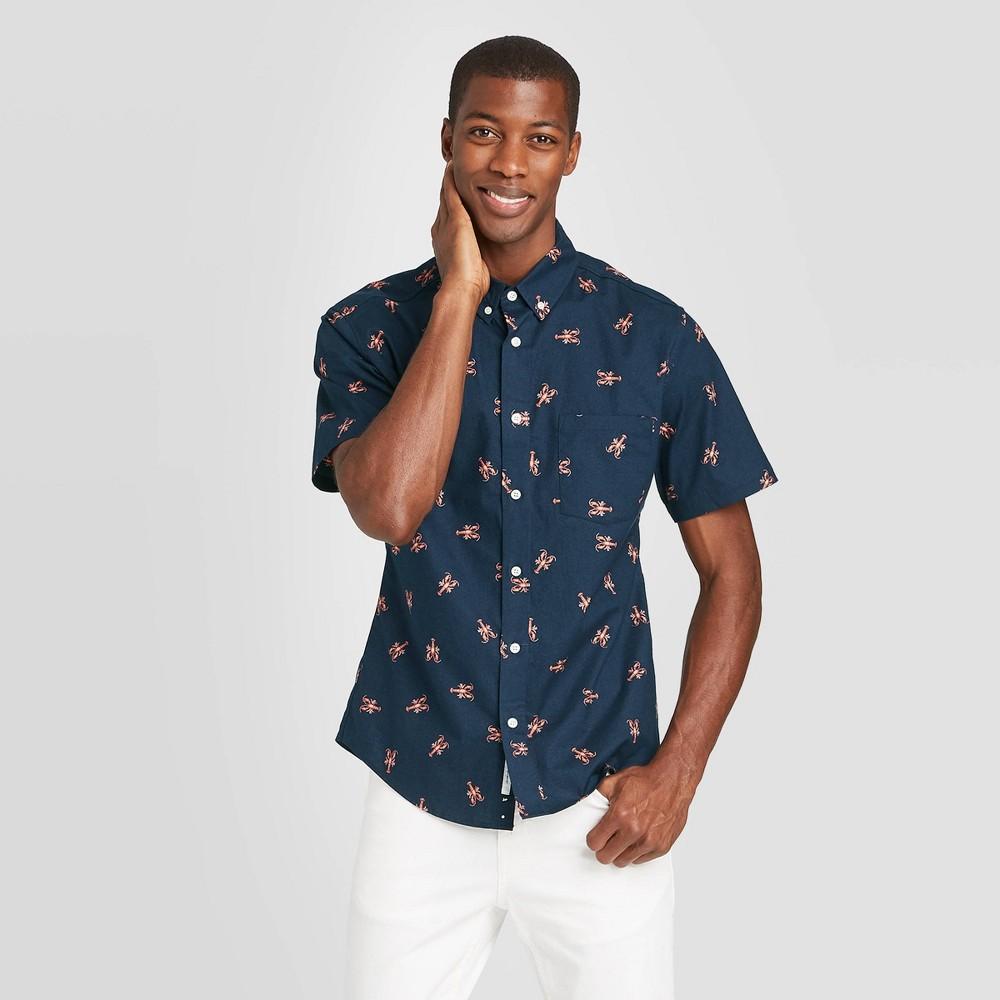 Men's Slim Fit Short Sleeve Poplin Button-Down Shirt - Goodfellow & Co Ocean Wave Blue S, Blue Blue Blue was $19.99 now $12.0 (40.0% off)